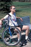 REC BIC MIS  SK  CWN0203020D  NMR  VTMAN WITH BIKE SITTING ON PARK BENCHSASKATOON                       05/..© CLARENCE W. NORRIS      ALL RIGHTS RESERVEDACTIVITIES;BENCHES;BICYCLES;BICYCLING;BIKING;MALE;OUTDOORS;PARKS;PLAINS;PRAIRIES;PARKS;PEOPLE;RECREATION;SASKATCHEWAN;SASKATOON;SK_;SPRING;VTLLONE PINE PHOTO              (306) 683-0889