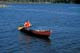 SOLO CANOEIST ON WATER, CHURCHILL RIVER, LAC LA RONGE PROVINCIAL PARK