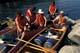 CANOEISTS & LOADED CANOES AT SHORE, LAC LA RONGE PROVINCIAL PARK
