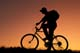 TEENAGE BOY BICYCLING AT SUNSET, OSLER
