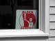 BLOCK PARENT SIGN IN WHITE WINDOW, GREY VINYL SIDING, SASKATOON