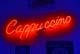 CAPPUCCINO NEON SIGN, BLUE BACKGROUND, BROADWAY CAFE, SASKATOON