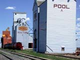 STR ELE POO  SK  CWN02D0334DSASK WHEAT POOL ELEVATORS AND TRACKSROSETOWN                             07/03© CLARENCE W. NORRIS           ALL RIGHTS RESERVEDBUILDINGS;ELEVATORS;FARMING;PLAINS;POOL;PRAIRIES;ROSETOWN;RURAL;SASK_WHEAT_POOL;SASKATCHEWAN;SCENES;SK_;STRUCTURES;SUMMER;TRAINS;TRANSPORTATIONLONE PINE PHOTO                  (306) 683-0889