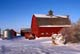 RED BARN, BALES IN SNOW, CARMEL