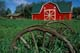 RED SHEET METAL BARN AND WAGON WHEELS, MEADOW LAKE