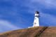 LIGHTHOUSE ON HILLTOP IN AUTUMN, BLUE SKY AND CLOUDS, JACKFISH LAKE, COCHIN